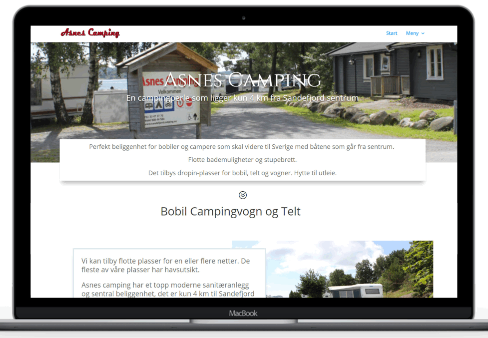 Forstørret bilde av Hjemmesiden til Asnes camping